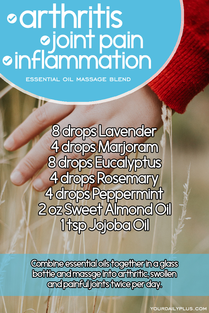 Essential oil massage blend for arthritis, joint pain and inflammation. Try this natural treatment using Lavender, Marjoram, Eucalyptus, Rosemary, Peppermint, Sweet Almond and Jojoba Oils.