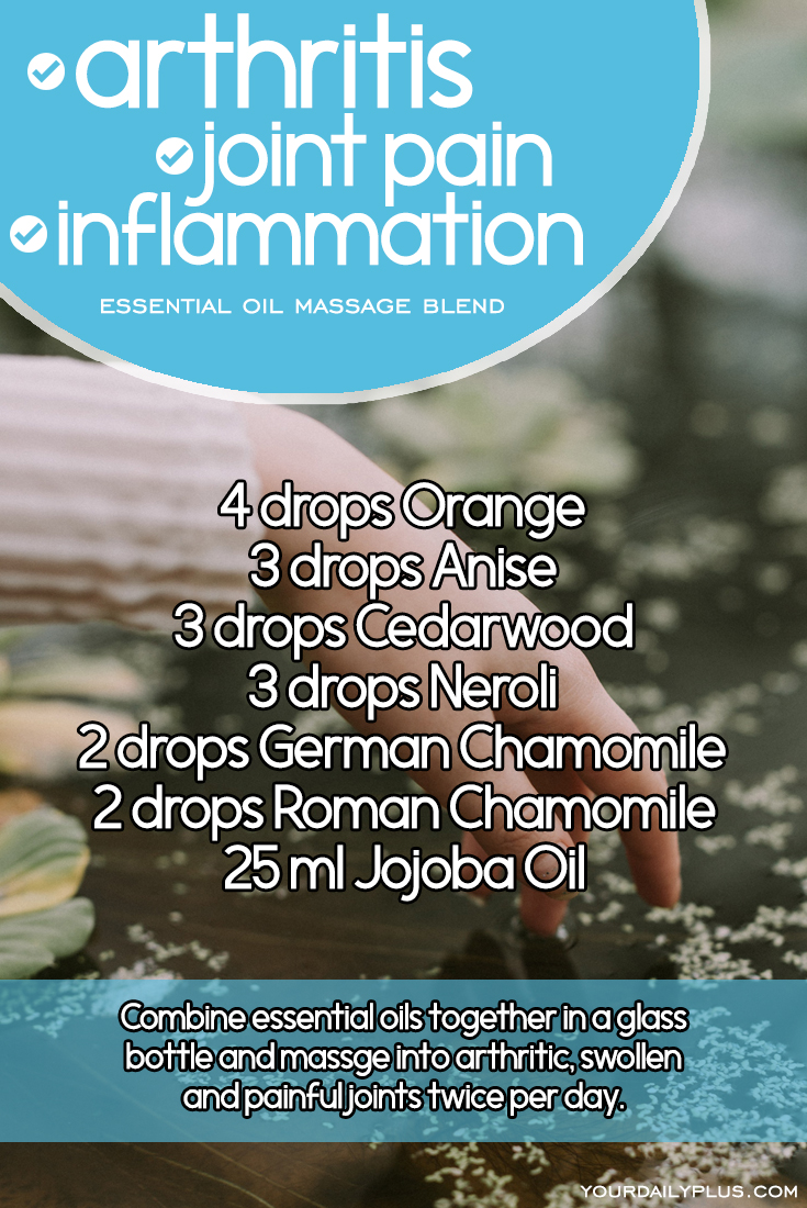 Essential oil massage blend for arthritis, joint pain and inflammation. Try this natural treatment using Orange, Anise, Cedarwood, Neroli, German Chamomile, Roman Chamomile and Jojoba Oil.