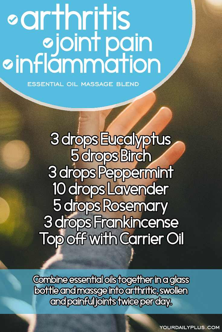 Essential oil massage blend for arthritis, joint pain and inflammation. Try this natural treatment using Eucalyptus, Birch, Peppermint, Lavender, Rosemary and Frankincense.