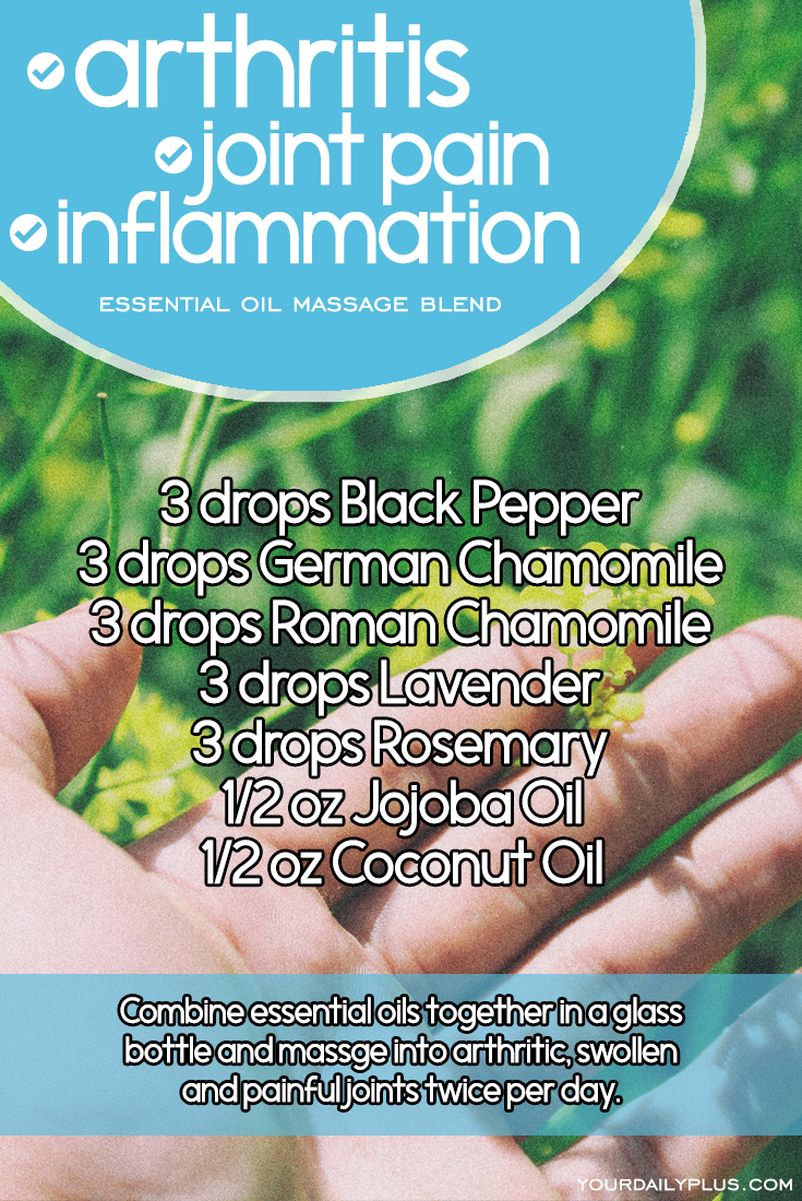 Essential oil massage blend for arthritis, joint pain and inflammation. Try this natural treatment using Black Pepper, German Chamomile, Roman Chamomile, Lavender, Rosemary, Jojoba Oil and Coconut Oil.